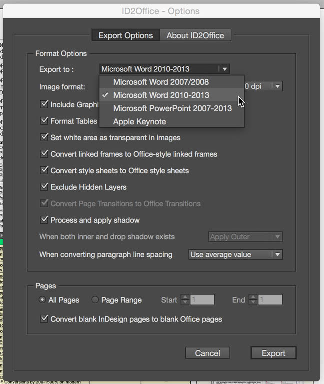 Convert InDesign to Word, PowerPoint or Keynote