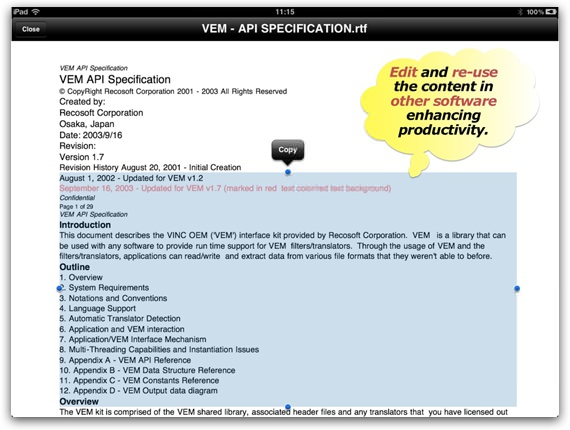 Converted PDF file on iPad