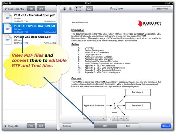 Convert PDF on iPad