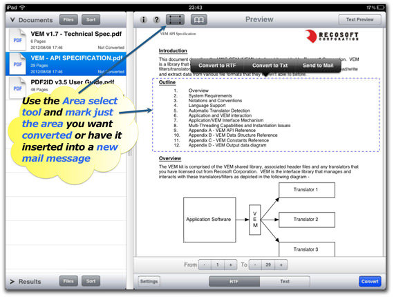 PDF to Text converter for iPad