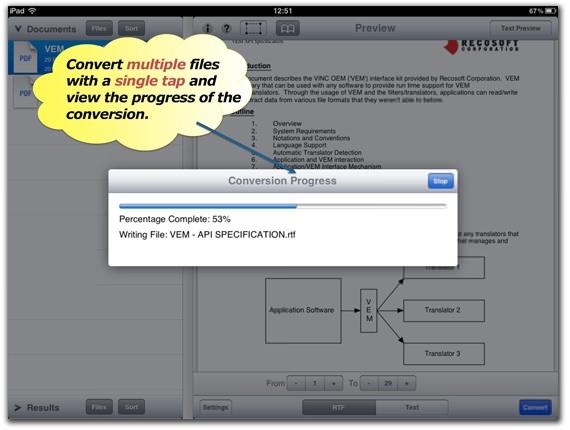PDF to RTF Converter for iPad