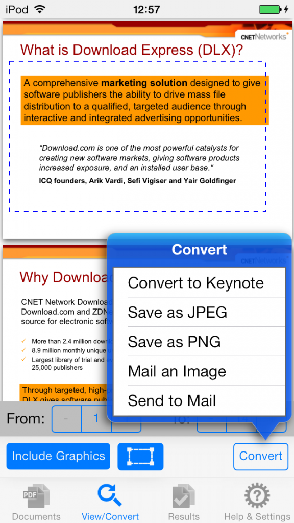 convert pdf to keynote on iphone using pdf2office