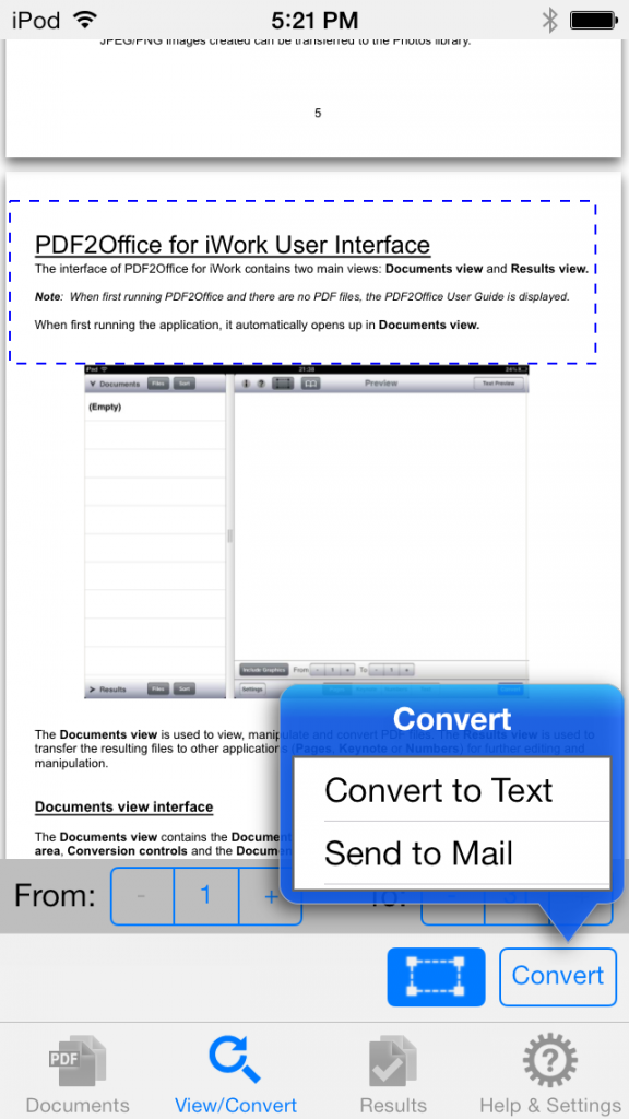 convert pdf to text on iphone using pdf2office