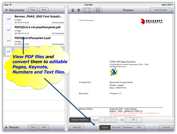 PDF Converter for the iPad