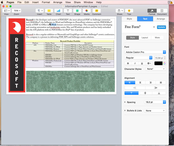 Convert PDF to Pages on Mac