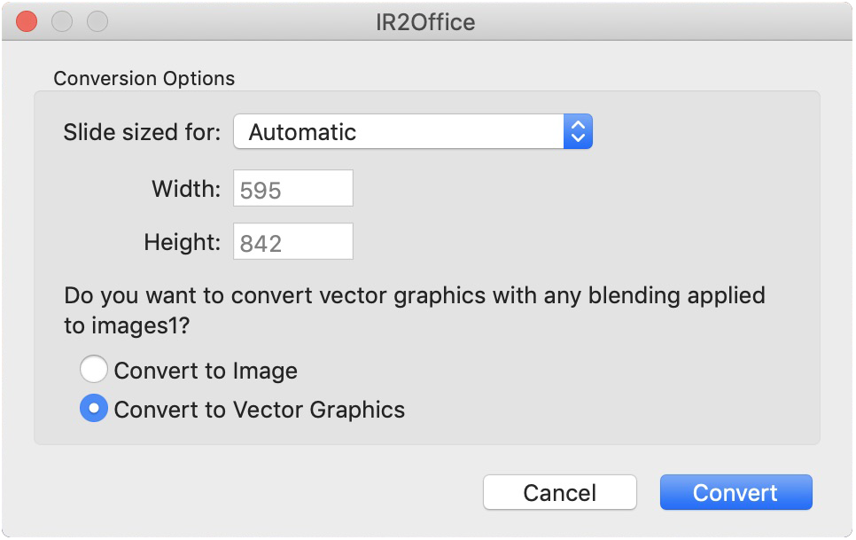 IR2Office is a plug-in for Adobe Illustrator allowing exporting of Illustrator files